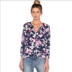 JOIE Silk Navy Floral Print Mckenna Split Neck Top